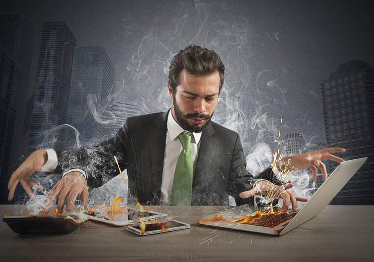 stressed man working
